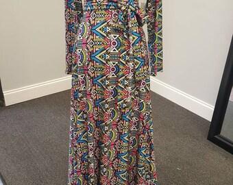 African Print Knit Maxi Dress