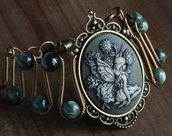 NEW Fairy bracelet with green seraphinite, Antique brass