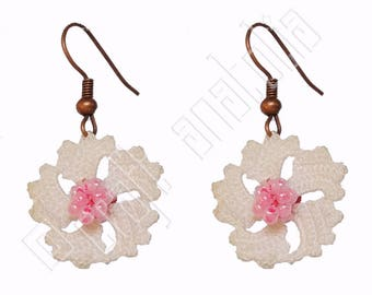Oya Needle Lace Earrings White and Pink Flower