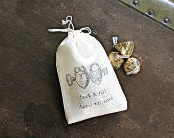 Wedding favor bags, set of 50, personalized cotton favor bags, heart lockets, names and date, bridal shower favor, cloth party favor bag