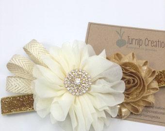 Cream & Gold Headband Gold and Ivory Headband Chiffon Ballerina Flower Headband Metallic Ribbon Couture Headband M2M Photo Prop