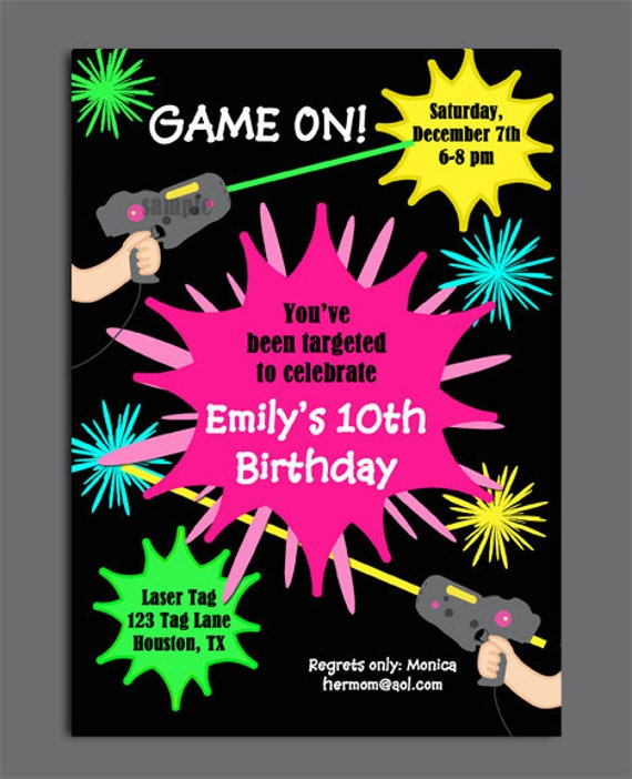 Laser tag girl birthday invitation printable or printed with filmwisefo