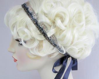 It Girl Beaded Headband 1920s Style Ribbon Headband