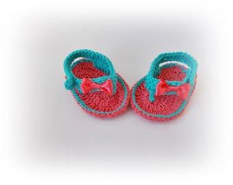 Crochet Baby Flip Flops, Baby Sandals, Koral teal sandals, Baby Flip Flops, Summer Baby Shoes, Crochet Baby Sandles, Girl Sandles