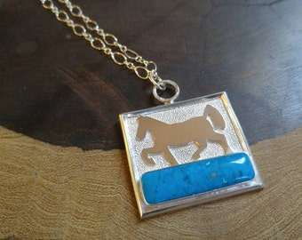 Fun Sterling Silver Kingman Turquoise Horse Necklace Handmade Quality, Statement Piece