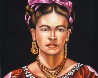 Mexican artist Frida Kahlo portrait black velvet oil painting handpainted signed art