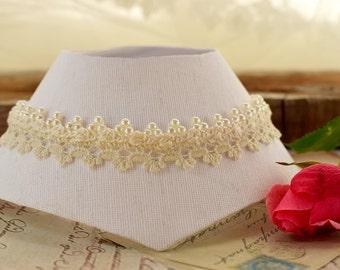 Ivory wedding pearl necklace Bridal lace choker Vintage retro wedding fashion Victorian choker necklace Edwardian jewelry Elegant choker