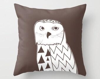 Snowy Owl Pillow Cover, brown pillow, man pillow, rustic pillow, animal pillow, owl decor, bird pillow, choose 54 colors, c pillow