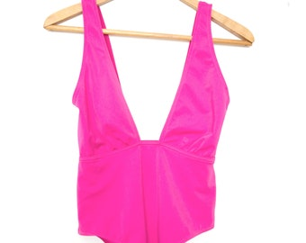 Hot pink vintage low cut swimsuit/bodysuit UK 10, EU 38, US 6