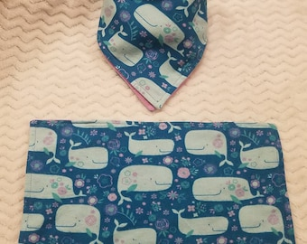 Whale Burp Cloth and Bib Set,