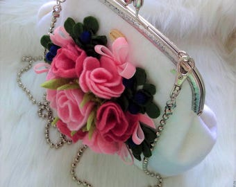 Felt bag Felted wool purse White bag with felt flowers Pink felt flowers Felt shoulder bag Gift women  Wet felted bag Wedding bag Women purs