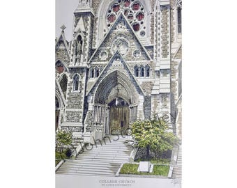 Saint Louis University College Church LIMITED EDITION Pen and Ink and Watercolor Art Print Illustration - Graduation Gift, Alumni