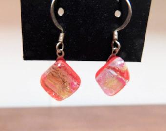 Small Dichroic Fused Glass Earrings - Orange Flame