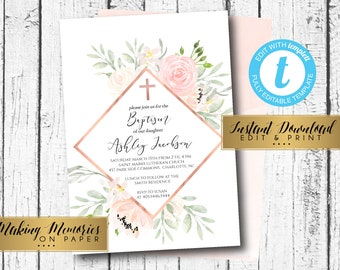 Baptism diy etsy blush baptism invitation first communion invite instant watercolor flowers floral invitation pink solutioingenieria Image collections