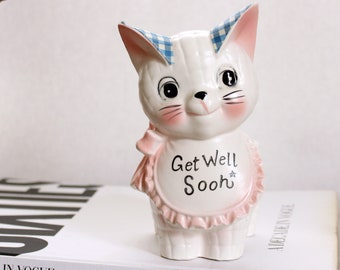 vintage cat planter Get Well Soon by Inarco, made in Japan . handpainted pink kitten plant pot for succulents and cacti