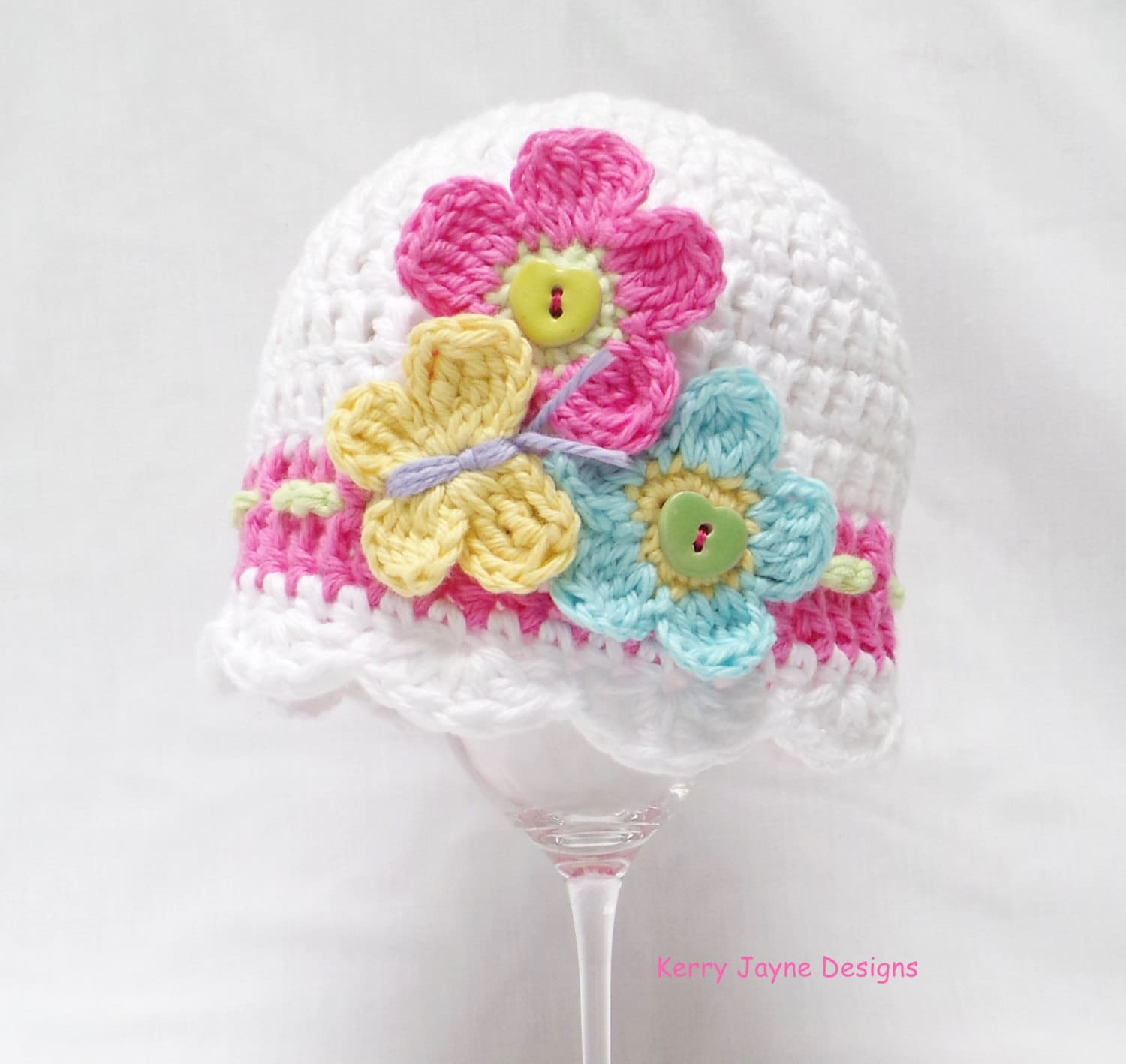 BABY CROCHET HAT Pattern Flutter by baby hat Butterfly and flowers ...