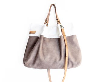 TOTE bag and HAND bag made of soft nubuk leather, canvas and italian leather. Emma bag