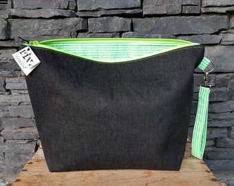 Project Bag | Knitting Bag | Knitting Project Bag | Zippered Project Bag | Wedge Bag | Sweater Knitting Bag | Neon Green Stripes