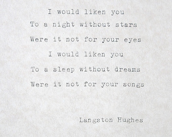 Typed quote Langston Hughes Typed words Typed poetry Typewriter Poem Quiet Girl Old typewriter poem I would liken you Typed Wall Art