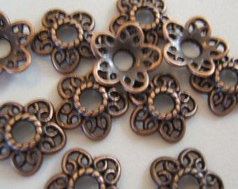 20 - Sweet Filigree Antiqued Copper Flower Bead Caps