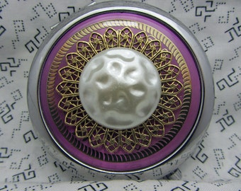 Purple Compact Mirror Bridesmaids Gift Moonscape Gift For Friend Comes With Protective Pouch