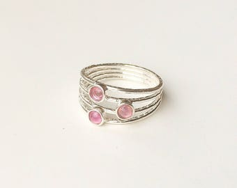 Fuchsia Pink multicolor tourmaline 925 sterling silver Ring