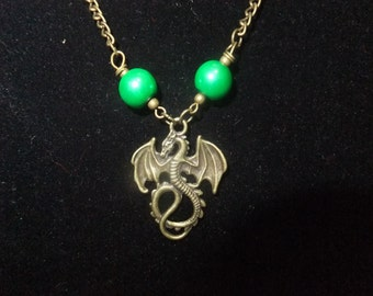 Green & Gold Dragon Necklace