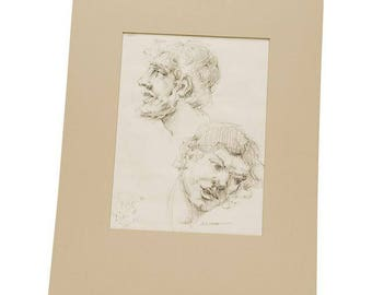 Vintage Graphite Gesture Portrait Drawing (R. Bogdan)