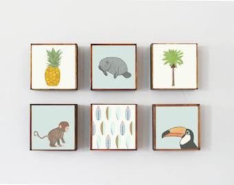 beach nursery art, choose 6 art block prints, tropical nursery decor, children wall decor, geometric prints, nursery, monkey manatee palm