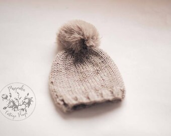 Tan Winter Beanie Pom Pom Hat Photography Prop Bonnet Knit Hat Newborn