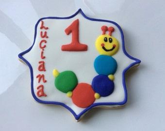 BABY EINSTEIN CATERPILLAR Sugar Cookie Party Favors // Toddler Birthday Party // Preschool Birthday // Decorated Cookie // Gifts for child