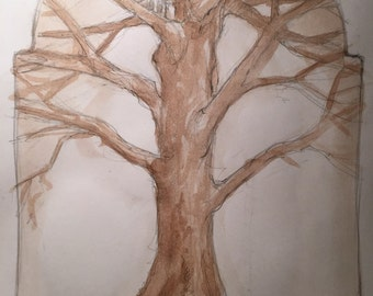Tree Houses Original Painting by Renae Taylor