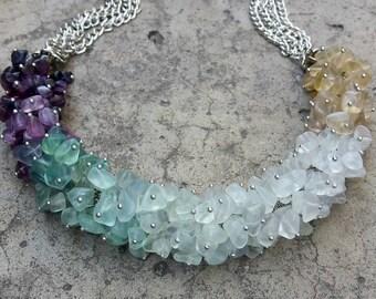 Stone necklace Statement fluorite necklace Stone jewelry Blue green purple necklace Multicolor fluorite jewellery Cluster gemstone necklace