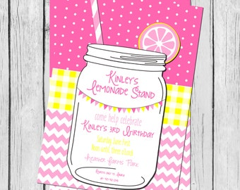 Pink Lemonade Chevron and Polka Dot 5x7 DIY/PRINTABLE Birthday Invitation