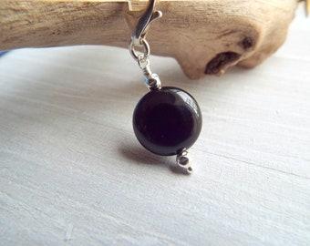 CLIP ON Black Gemstone  Bracelet Charm, Black Onyx and Sterling Silver Add On Charm, Genuine Black Gemstone  Dangle Charm byLaurieB.