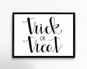 Halloween Printable Sign, Trick or Treat Sign, Halloween Decor, Halloween Party Decor, Halloween Wall Art, Hand Lettered