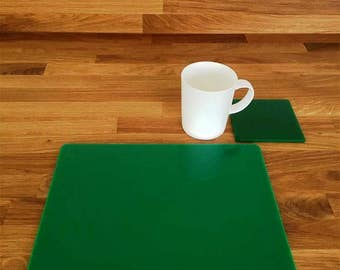 Rectangle Placemats or Placemats & Coasters - in Green Gloss Finish Acrylic 3mm