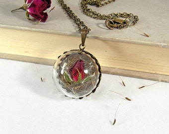 Real rose pendant, rosebud necklace, dried flower pendant, glass globe necklace, romantic necklace