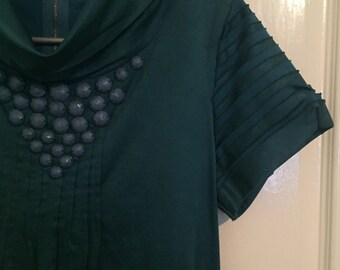 Embellished Teale Green High collared Tunic Dress