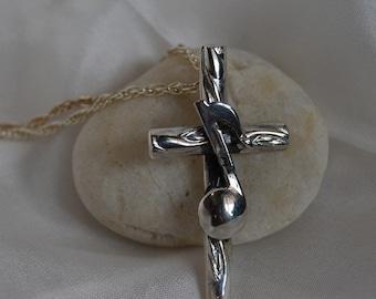 Cross pendant Musical Note Cross sterling silver rope chain church music gospel choir sing