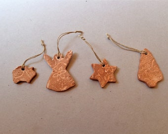 Handmade Christmas in July ornaments, ceramic holiday seasonal decor, primitive pottery gingerbread clay gift tags tree hanging decoration