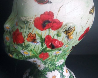 Poppies and daisies mannequin hand painted, decoupaged, collaged original artwork female