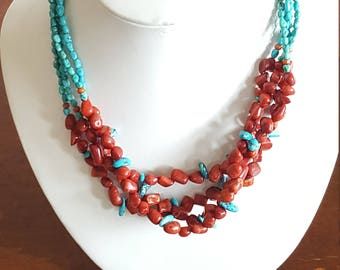 Red Coral & Turquoise Necklace~Multistrand Beaded Necklace~Handmade Sterling 925 clasp/chain~Blue Turquoise~Gypsy Boho Beach~JewelsandMetals