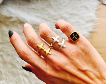 Adjustable double cross rings in Silver or Gold and Signet cross ring in Gold with black embellishment