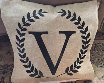 Throw pillows - Personalized-initial-letter-accent-farmhouse style pillow cover
