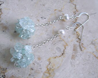 Aquamarin Cluster Ohrringe Sterlingsilber Draht häkeln lange blau Handmade Wedding Fashion einzigartige Mutter Tag Geschenk