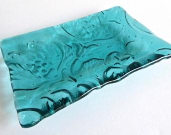 Fused Glass Art Nouveau Imprint Dish in Light Aquamarine by BPRDesigns