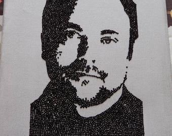 "Handmade Mark Sheppard/Crowley portrait large 8""x10"" Canvas"