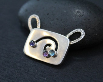 Modernist Gemstone Pendant, Sterling Swirl Pendant, Silver Amethyst, Unique Sterling Jewelry, Moving Pendant, Gemstone Slide Pendant