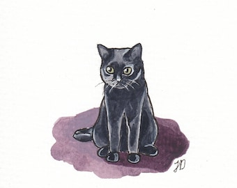 4x5 Original Halloween Black Cat Watercolor